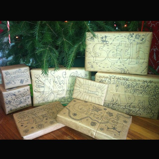 My Christmas wrapping theme of 2011. I turned brown wrapping paper into coloring pages specific to the person they were for. All I have to do now is attach some crayons. No more boredom when waiting for your turn to open! Just color your gift!