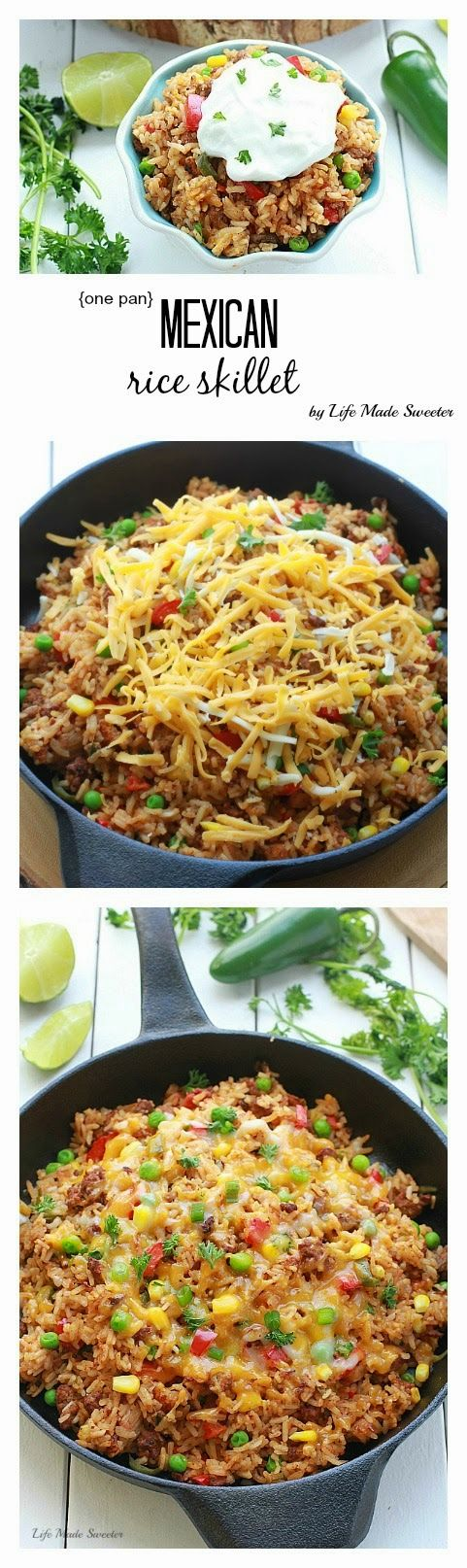 30 Minute Meal Recipe - Easy Mexican rice dish made all in one pan in just 25 minutes.