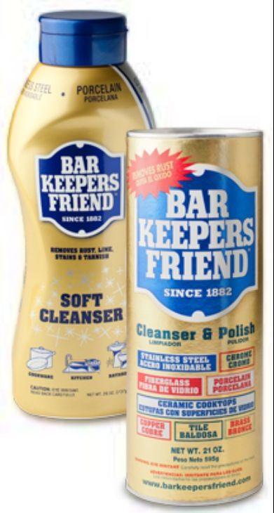 best cleaning tools ever: works great on stained/discolored toilet bowls. turn the water to the toilet off. plunge until little or no water remains in bowl. squirt or shake bar keepers friend on stain, pull on your rubber gloves, and gently scrub stain with the rough side of your sponge. turn water back on, flush. presto! sparkling toilet bowl.