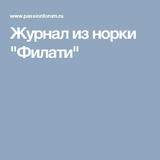 """Журнал из норки """"Филати"""""""