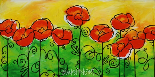 poppies-inked by inkstitch, not my colors at all, but I love the simplicity of the picture!