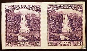Salvador #154 24c Violet 1896 Imperf Pair Rare