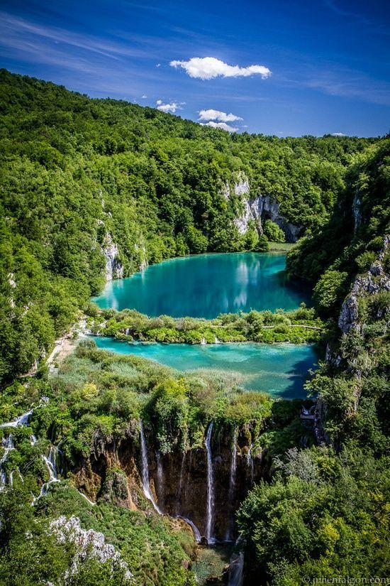 Beautiful view, National park Plitvice lakes in Croatia...