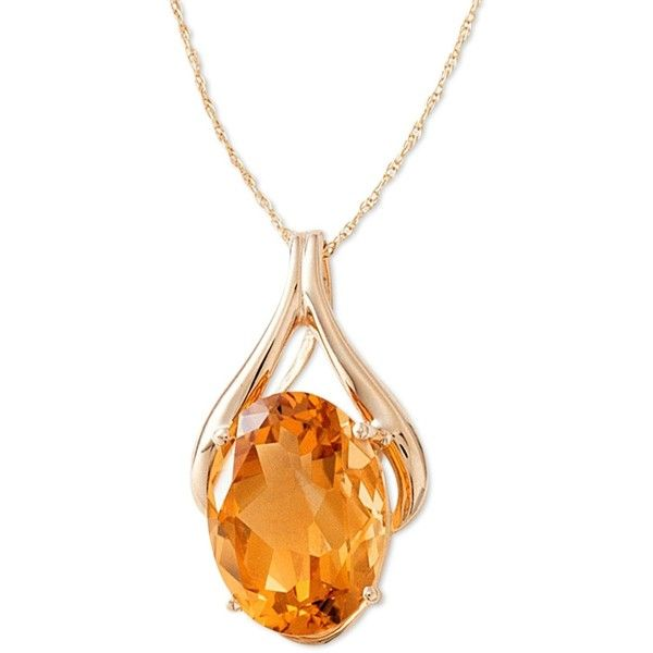 14k Gold Citrine Pendant (8 ct. t.w.) ($413) ❤ liked on Polyvore featuring jewelry, pendants, necklaces, orange, no color, gold chain pendant, gold pendant, wishbone pendant, gold jewellery and 14k yellow gold pendant