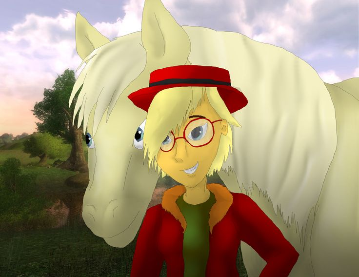This is me, Sara, and my horse, Cinnamonfire (Cinnamon) in true SSO drawing fashion, I did not make the background myself, though it really enhances the image.