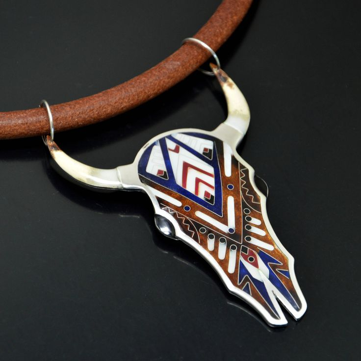 Silver cloisonne necklace in shape of hamsa with indian elephant by SamaiaJewellery on Etsy