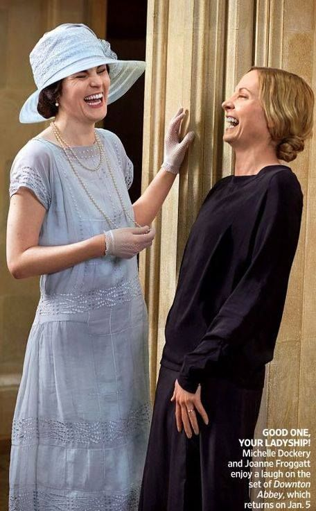 Behind the scenes. Downton Abbey. Lady Mary and Anna laugh #DowntonAbbey