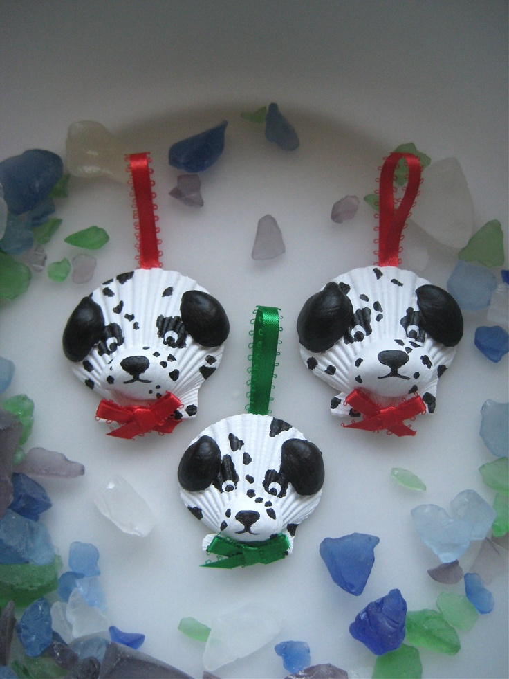 Dalmatian Ornaments, cute idea for beach seashells -