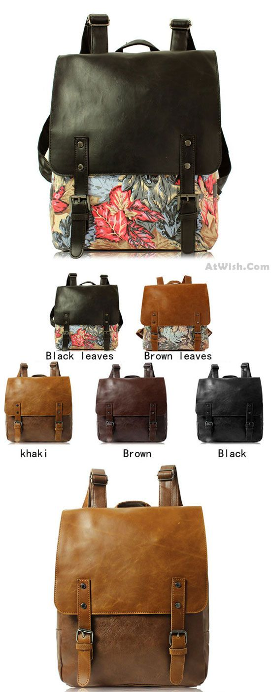 Which color do you like? Casual Leaves Leather College Rucksack British Style Schoolbag Backpack #backpack #school #bag #british #leaves