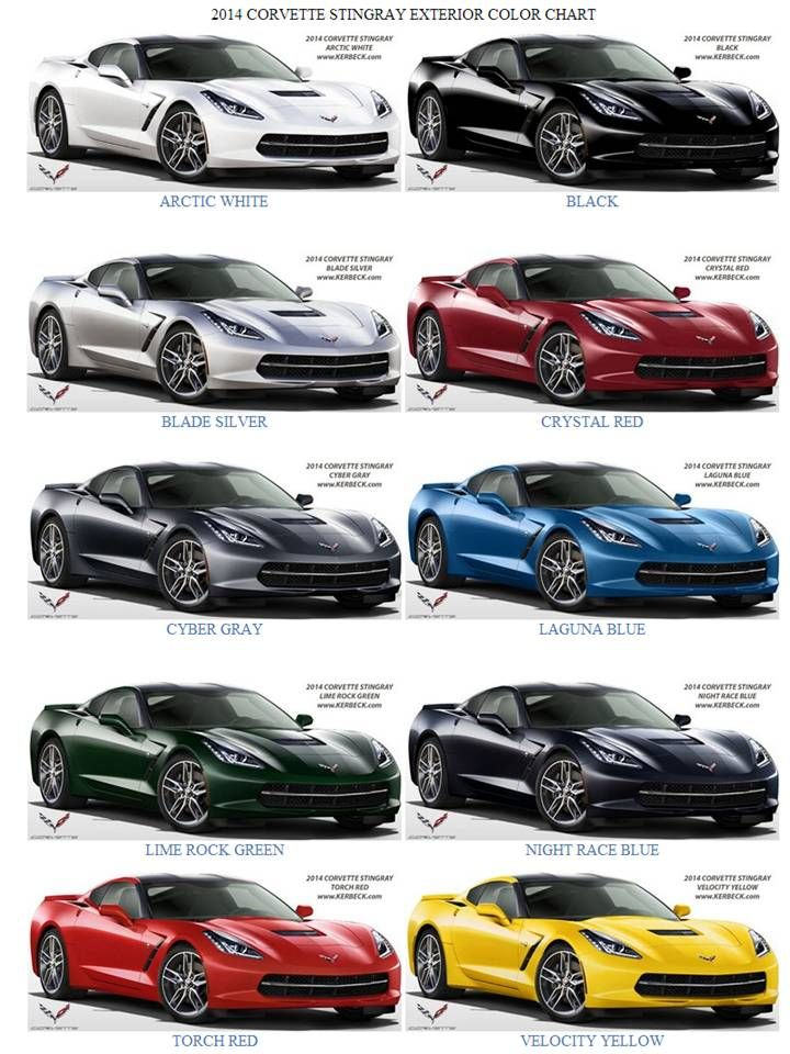 2014 Corvette C7 Stingray Exterior Color Chart. Decisions, decisions, decisions . . .