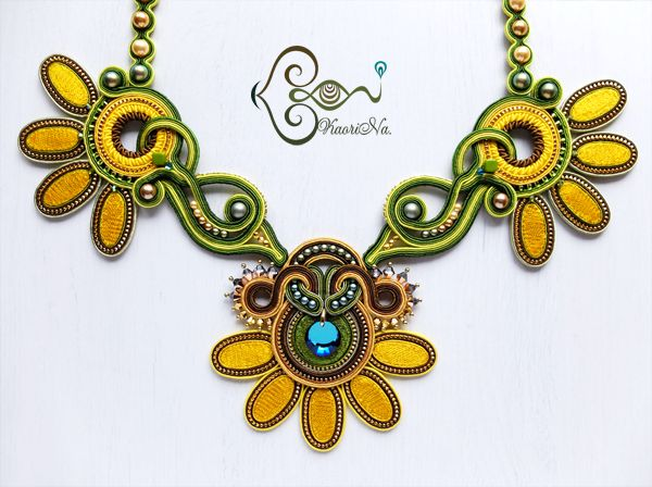 ソウタシエ・ネックレス Soutache Necklace by KaoriNa. - Sunflower