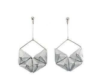 HEXA ESRRINGS   Origami Earrings; Origami Jewelry, Origami Jewellery; Origami; Paper Jewelry; Japanese Paper; Japan; Statement Earrings; Gift for Her; Paper