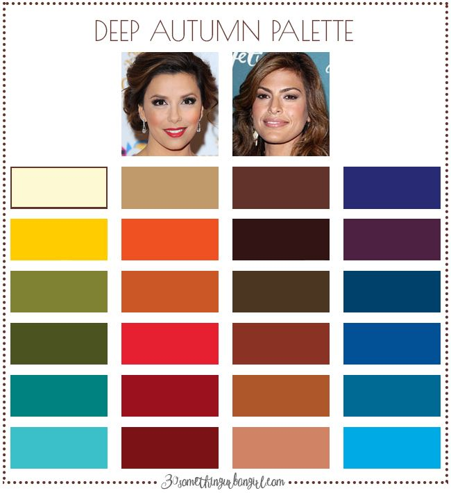 Best colors for Deep Autumn seasonal color women; Deep Autumn color palette | #DeepAutumn #colorpalette