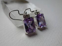 Sterling silver earrings with cubic zirconias Design&Handmade by K.Tokar