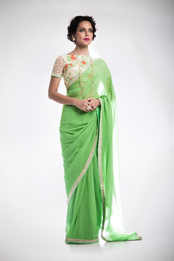 Simple Saree with Floral, Boat Neck Blouse