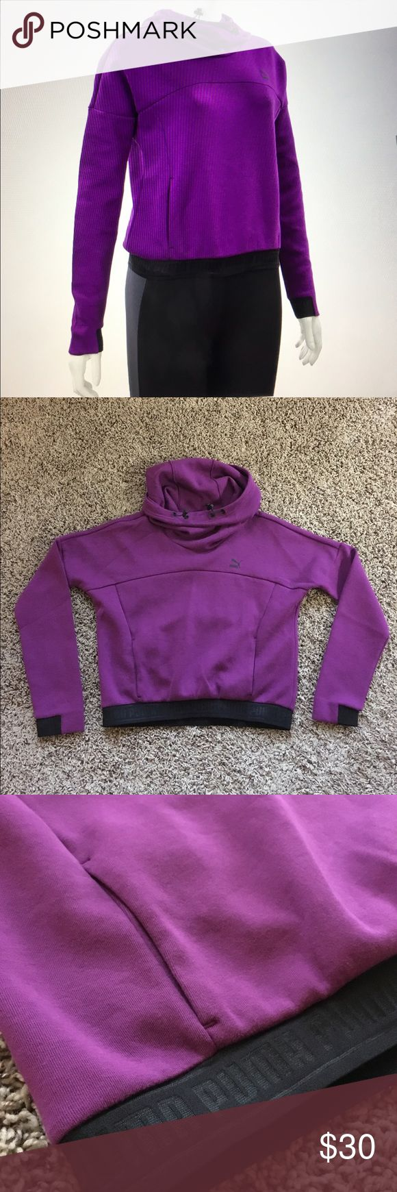 Puma sweatshirt Nice purple cowl neck Puma sweatshirt. Like new condition. Black elastic Puma around the hem - front pockets. Puma Tops Sweatshirts & Hoodies