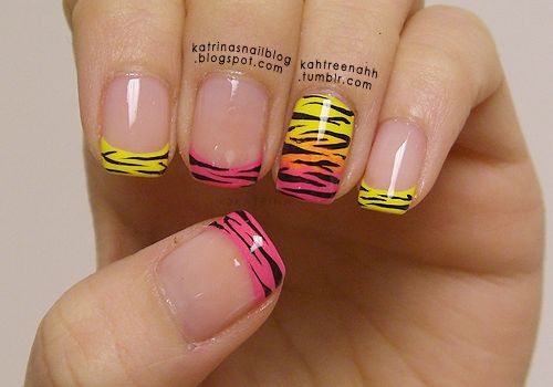 : Pink Zebra, Zebras Stripes, Nails Art, Nails Design, Animal Prints, French Tips, Zebras Prints, Zebras Nails, Neon Nails