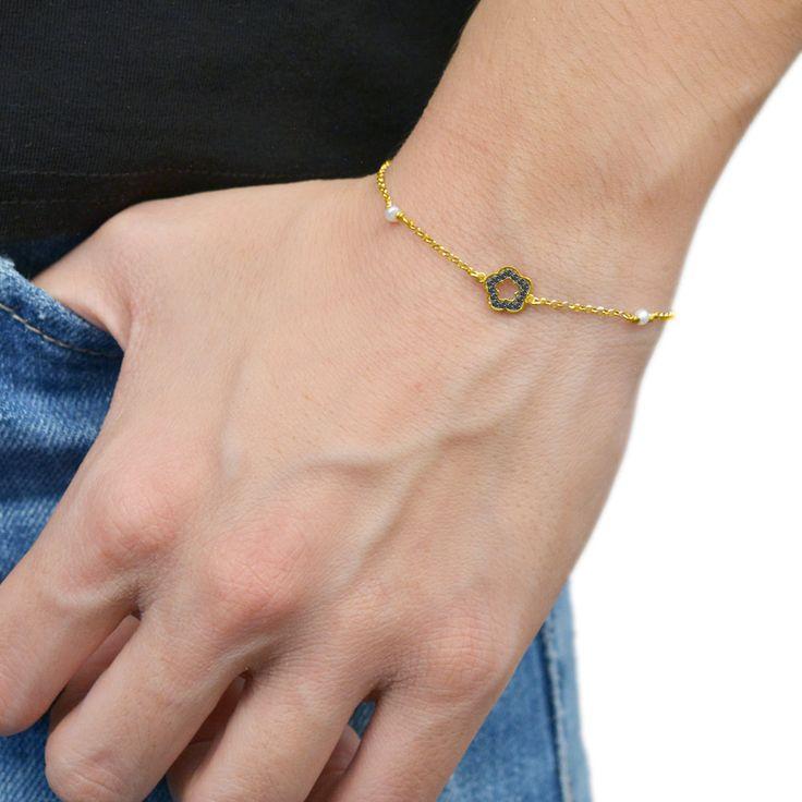 Flower Bracelet Sterling Silver 925,Rose Gold Bracelet,Yellow Gold Bracelet,Tiny Flower,Birthday Gift,Bridesmaid Gift,Pearl Bracelet by AmorAmorSilver on Etsy