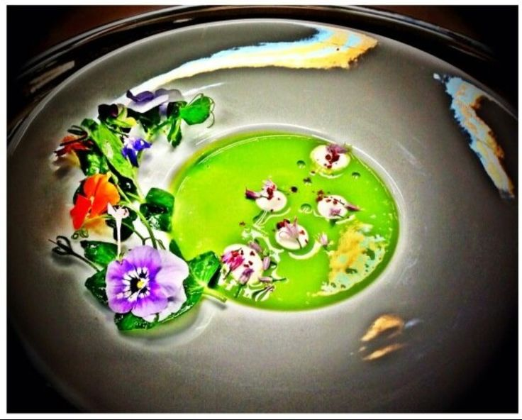 Spring Pea Essence with Whipped Creme Fraiche, Pink Peppercorns and Lavender Infusion