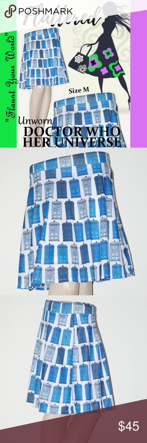 "CUTE SKIRT DR WHO TARDIS PRINT Fun Novel Dress M CUTE Skater SKIRT DR WHO TARDIS PRINT Fun Novel Dress M By DOCTOR WHO HER UNIVERSE ""Flaunt Your World"" Phone booth Tardis Print Skirt ADORABLE Skater Skirt! Unworn Size Medium Lined 100% Polyester for easy care Made in USA Elastic Waist band Skirt Length: 18.5"" Waist measured flat across unstretched:  13"" Bottom sweep about 74"" around bottom Cute skirt, perfect for layering with tights, tall boots, tall socks, leggings, jeggings, skinny jeans…"