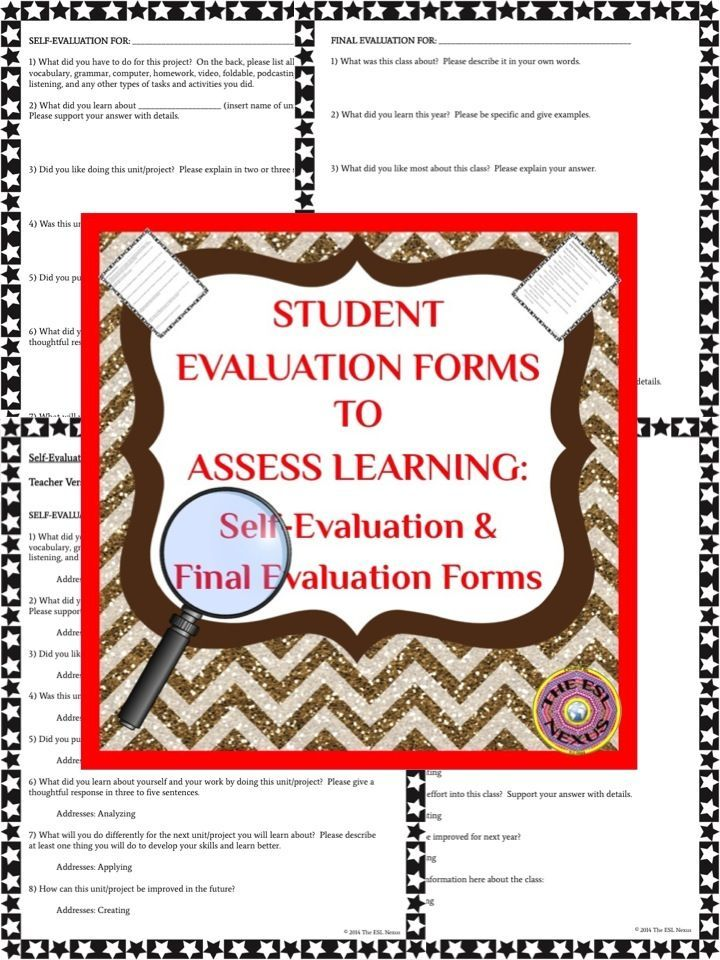The 25+ best Evaluation form ideas on Pinterest Student self - school self evaluation form