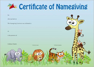 Naming Certificate - Zoo Animals design.