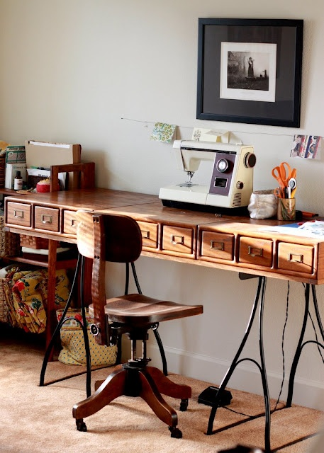 Brilliant craft table made with card catalog drawers via Like Mother, Like Daughter.