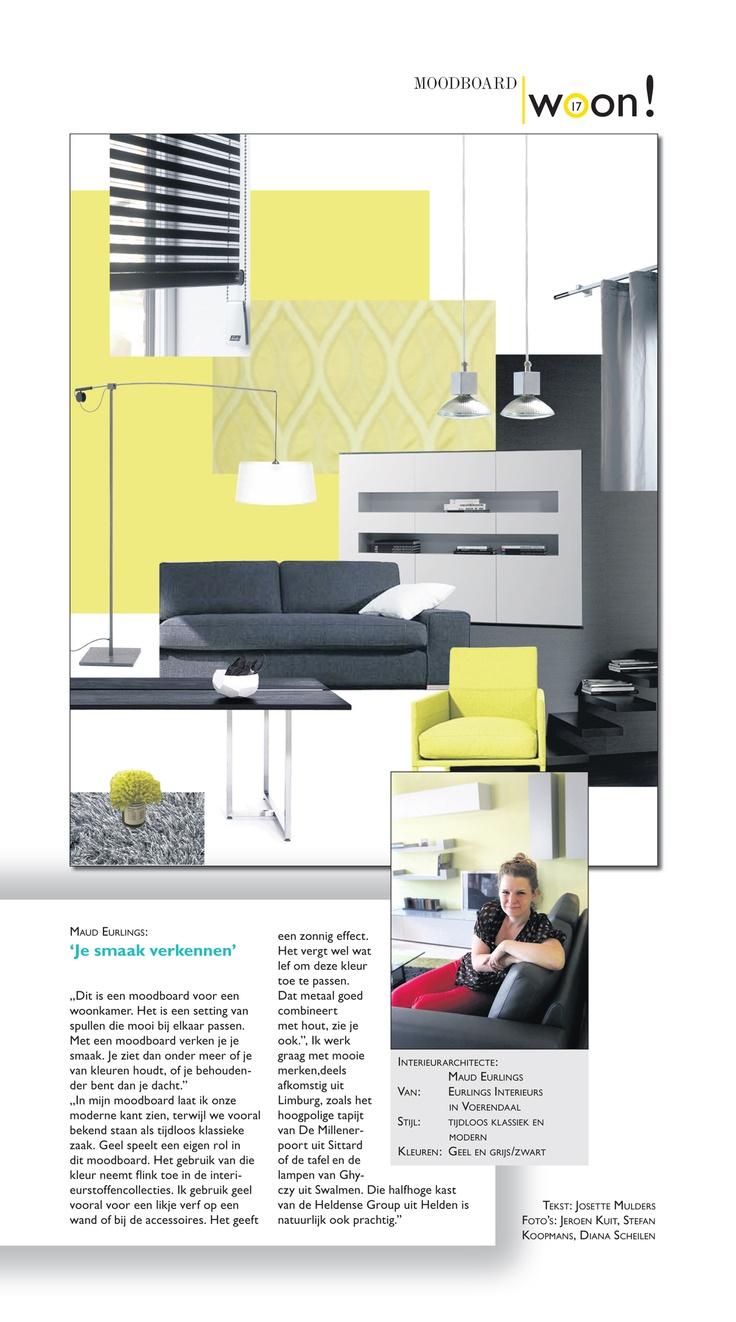 Mijn moodboard gepubliceerd in Woon! [t]huis in Limburg, hét blad dat inspireert en informeert over wonen in Limburg. Maandelijkse bijlage van onze Limburgse kranten.