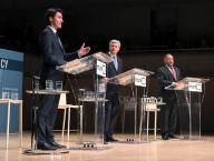 Canada election race narrowing to two parties as NDP stumbles  - Liberal leader Justin Trudeau, Conservative leader and Prime Minister Stephen Harper and New Democratic Party (NDP) leader Thomas Mulcair during the Munk leaders' debate on Canada's foreign policy in Toronto