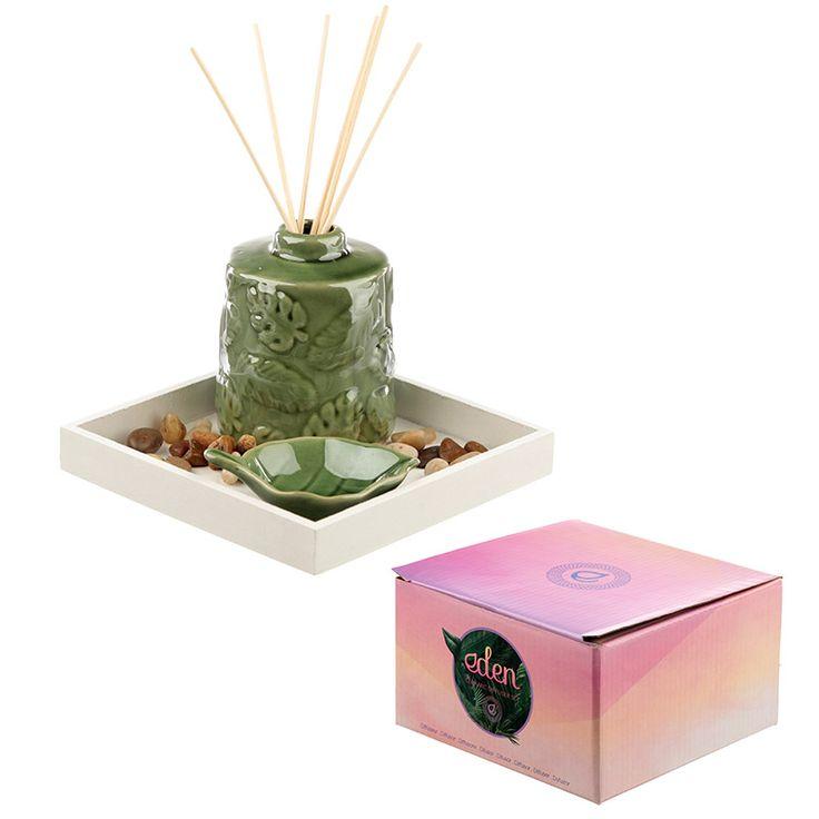 Ceramic tropical leaf reed diffuser set diffuser