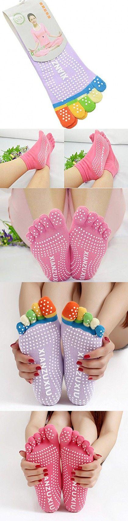 MochoHome 5-Toe Yoga/Pilates Socks with Full Grip, Small/Medium, Light Purple with Colorful Toes