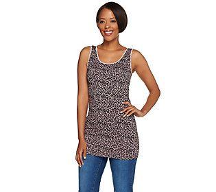 skinnytees Leopard Print Seamless Layering Tank Top