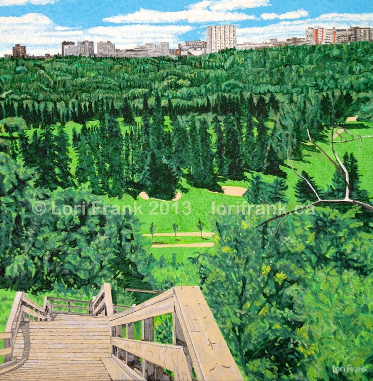 """Summer's Here!  Stairs leading to Edmonton's river valley! Acrylics on canvas. 20""""x 20"""". Prints available. www.lorifrank.ca"""