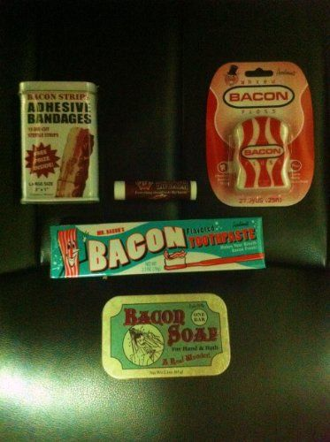 BACON Lovers Personal Grooming Gift Pack Bacon Soap Bacon Toothpaste Bacon Floss Bacon Adhesive Bandaids  Bacon Lip Balm ** You can get additional details at the image link.