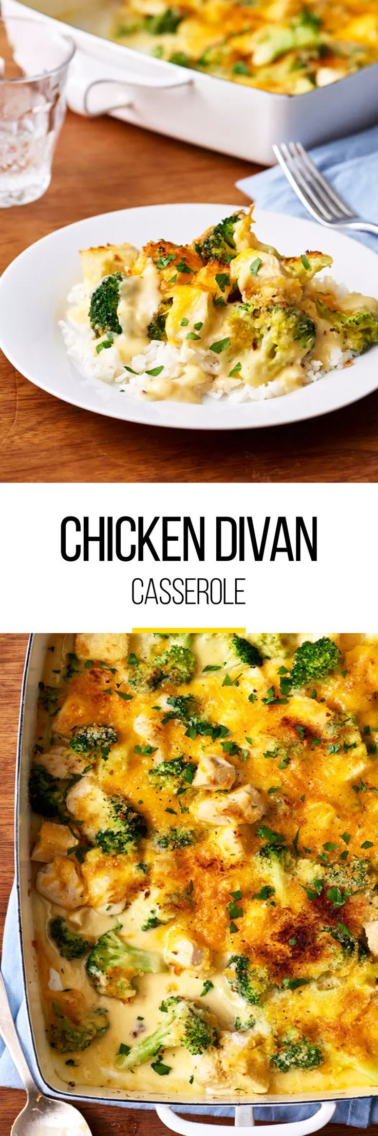 If you're craving more comfort food this fall, then this comforting cheesy chicken and broccoli casserole recipe is just the thing. Not only is this a comfort dish, but also a quick weeknight meal. This easy casserole calls for bag frozen broccoli florets, unsalted butter, all-purpose flour, low-sodium chicken broth, whole milk, shredded sharp cheddar cheese, cream sherry, kosher salt, ground black pepper, cubed cooked chicken, panko breadcrumbs and optional use of Parsley.