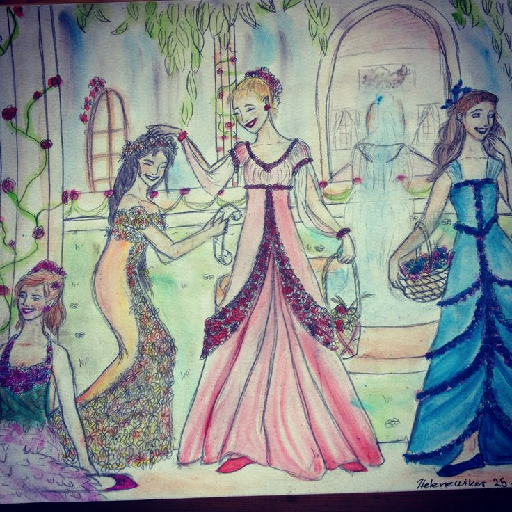 Drew four girls in their dresses with flowers :) H. W