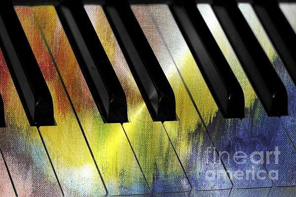 "Color Me Music""Color Me Music"" by Diann Fisher Digital painting. Music is the sound of joy and on a piano the ivory's and blacks are the keys to the color of our soul. Macro abstract of piano keys reflecting one octave on the keyboard painted."