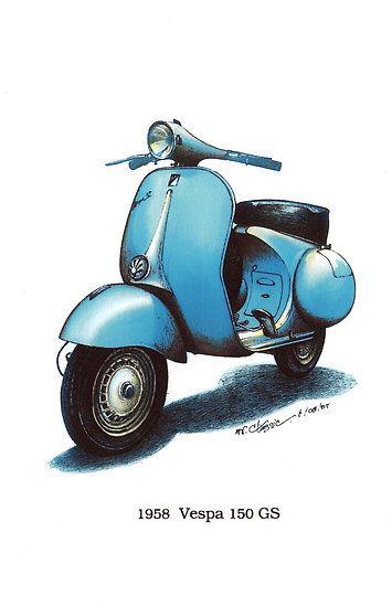 Blue 1958 Vespa 150 gs motorbike $3