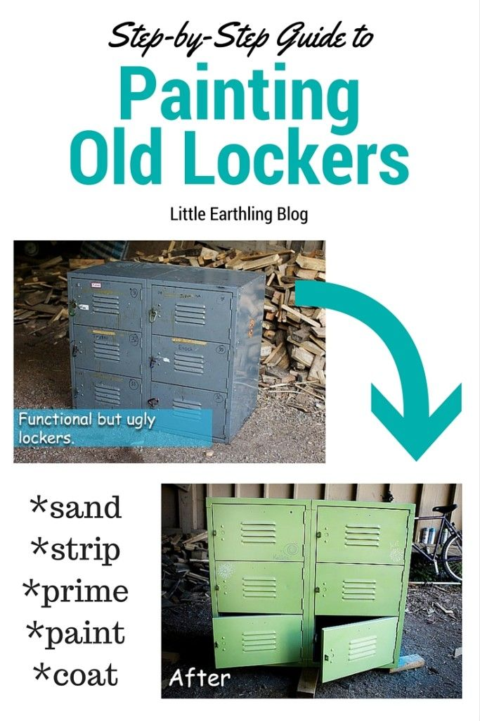 DIY  tutorial on changing old metal lockers bright and beautiful. Perfect for large families.