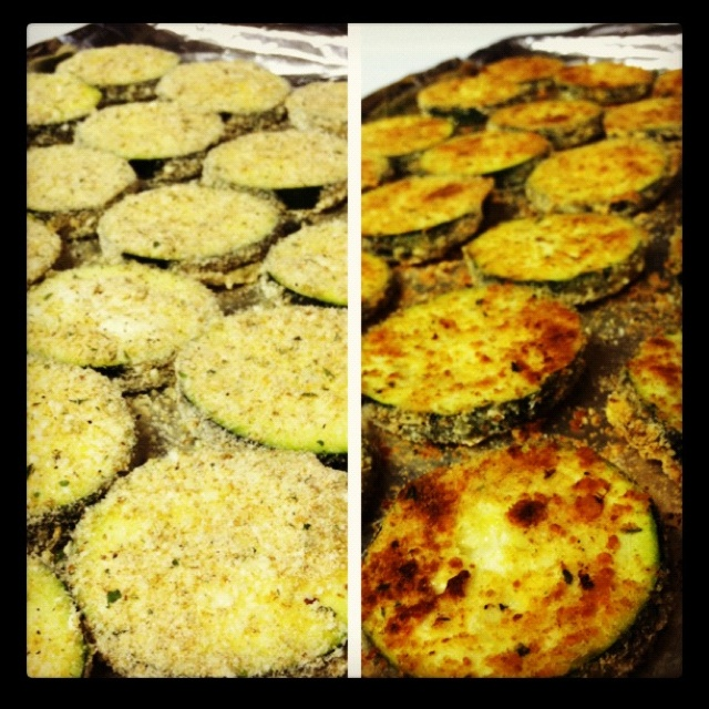 Zucchini coated in parmesan and baked. Yummy!