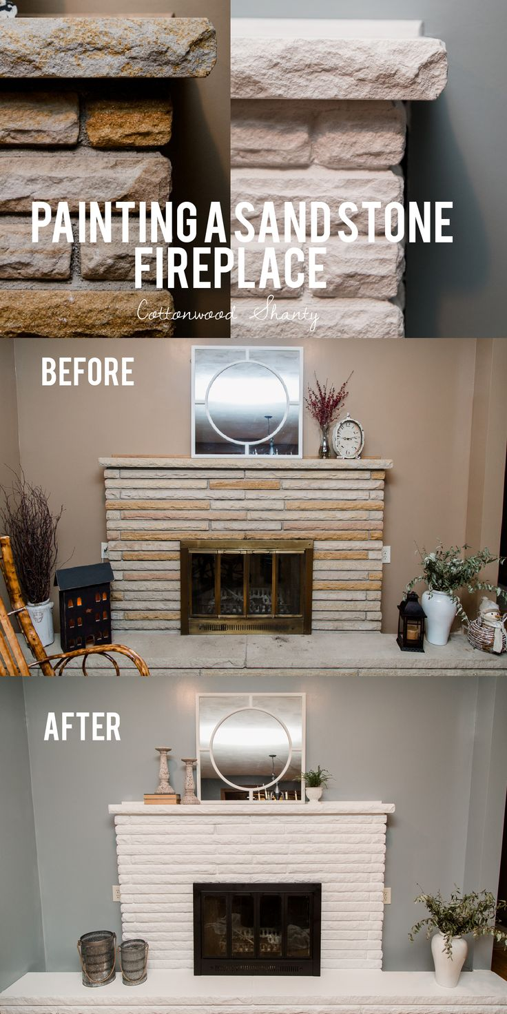 Dec 30 Painting A Sand Stone Fireplace Stone Fireplace