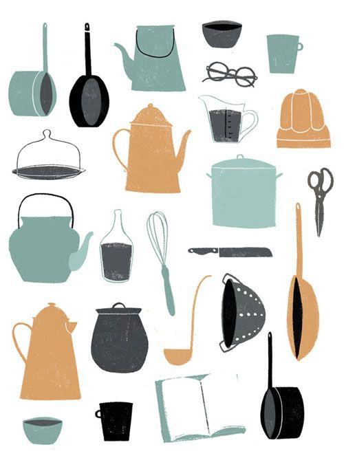 Vintage pots and pans #print by Clare Owen #digitalart #illustration #i2iart