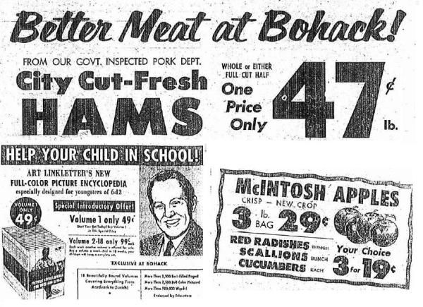 News ads c.1961- pic of Art Linkletter BOHACK'S