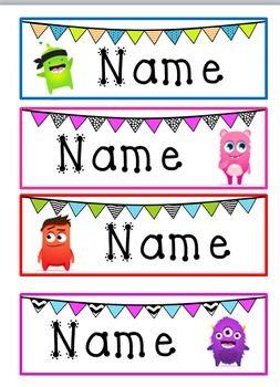 Monster & Bunting Desk Name Tags- Class Dojo                                                                                                                                                                                 More