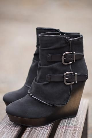 Why Don't We Just Wedge Double Buckled Wedge Booties (Black) - NanaMacs.com - 1