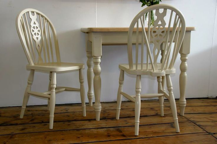 Pine farmhouse table, painted in Annie Sloan old ocre, with a beautifully restored table top.  Perfect for a small dining space with the old ocre wheel back chairs to match or standing alone as a hall table.  Table £125 Pair of Chairs £60