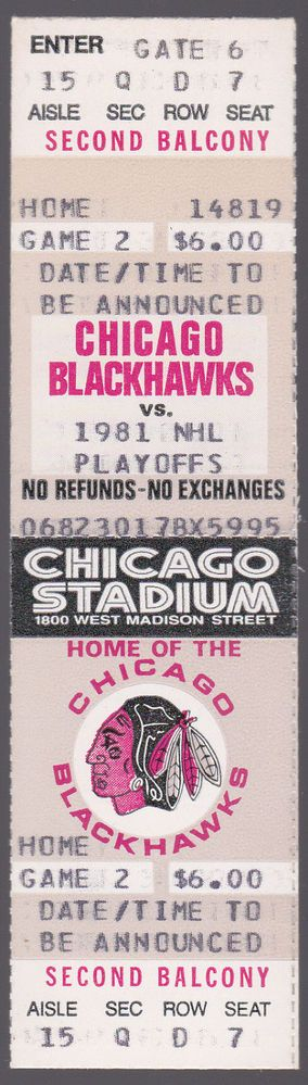 1981 CHICAGO BLACKHAWK PLAYOFF GAME TICKET EX+NM SEAT NUMBER 7 FREE SHIP #Ticket