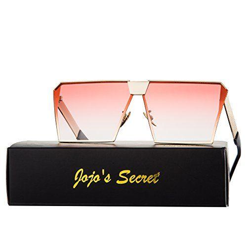 JOJO'S SECRET Oversized Square Sunglasses Metal Frame Fla... .amazon.com