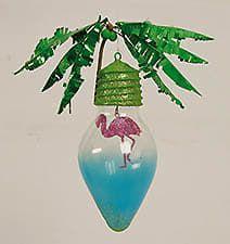 Tropical Light Bulb Flamingo Christmas Ornament