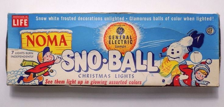 NOMA Sno-Ball Christmas Lights Vintage Work But Worn Snowball Frosted